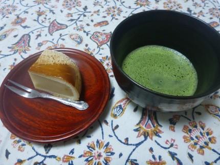 青汁と栗まんじゅう